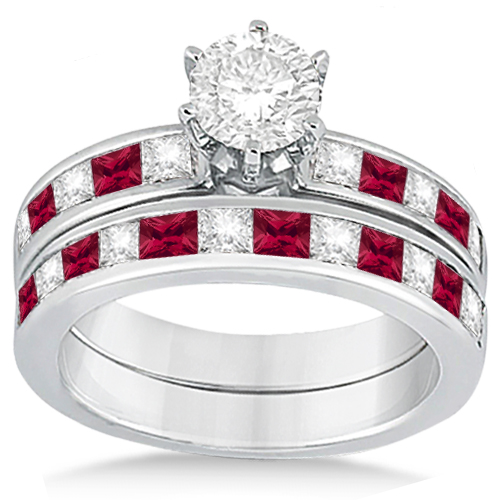 Channel Ruby & Diamond Bridal Set Palladium (1.30ct)
