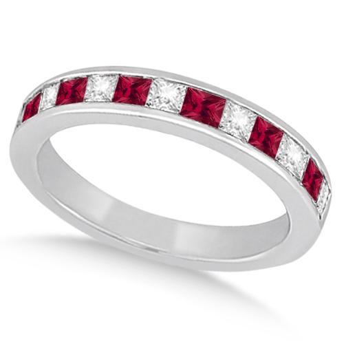 Channel Ruby & Diamond Bridal Set Platinum (1.30ct)