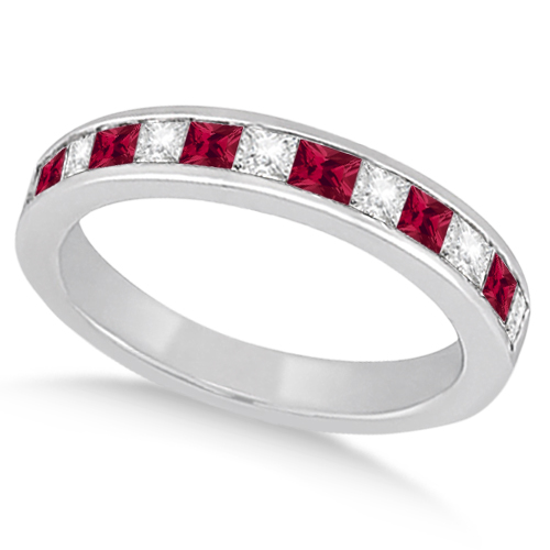 Channel Ruby & Diamond Wedding Ring 18k White Gold (0.70ct)