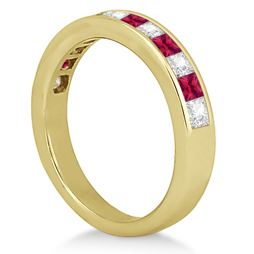 Channel Ruby & Diamond Wedding Ring 18k Yellow Gold (0.70ct)