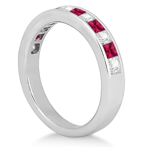 Channel Ruby & Diamond Wedding Ring Palladium (0.70ct)