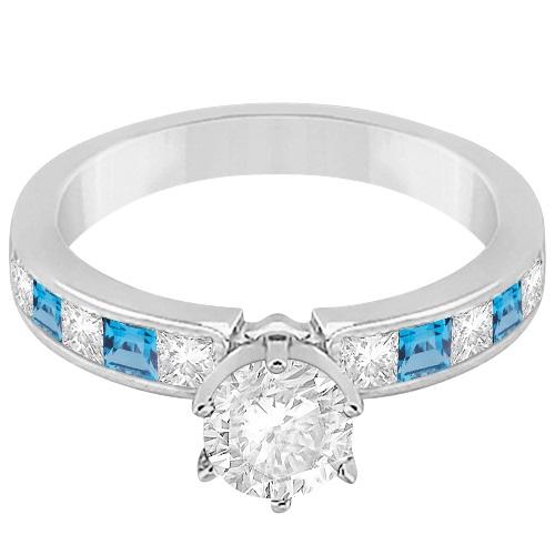 Channel Blue Topaz & Diamond Engagement Ring 14k White Gold (0.60ct)