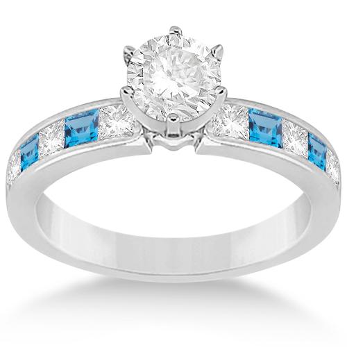 Channel Blue Topaz & Diamond Engagement Ring Platinum (0.60ct)