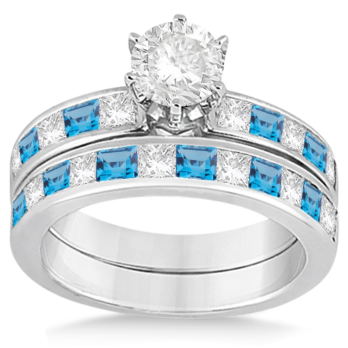 Channel Blue Topaz & Diamond Bridal Set 14k White Gold (1.30ct)