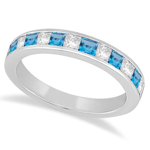 Channel Blue Topaz & Diamond Wedding Ring 14k White Gold (0.70ct)