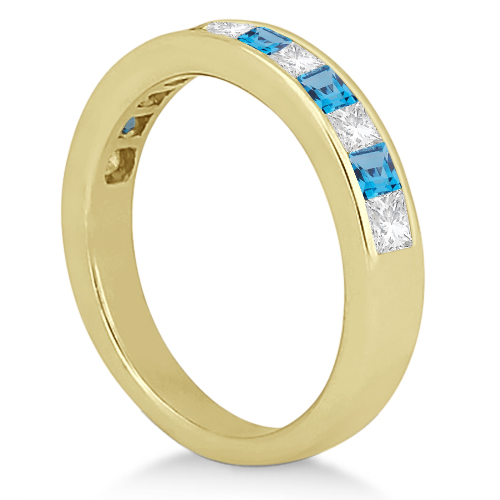Channel Blue Topaz & Diamond Wedding Ring 14k Yellow Gold (0.70ct)