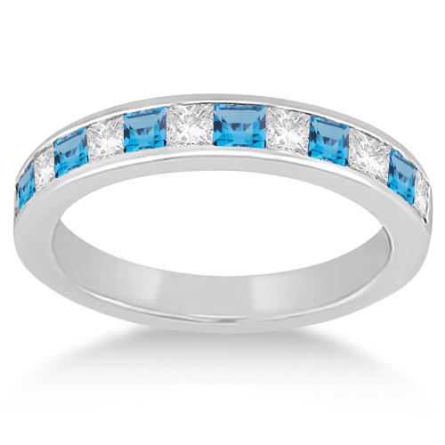 Channel Blue Topaz & Diamond Wedding Ring 18k White Gold (0.70ct)