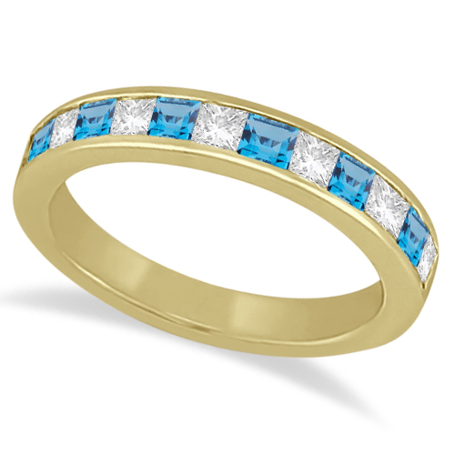 Channel Blue Topaz & Diamond Wedding Ring 18k Yellow Gold (0.70ct)