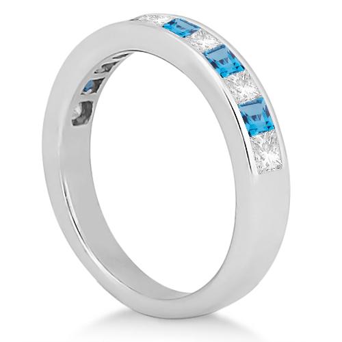 Channel Blue Topaz & Diamond Wedding Ring Platinum (0.70ct)