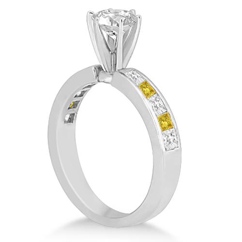 Princess White & Yellow Diamond Engagement Ring 14k White Gold 0.50ct