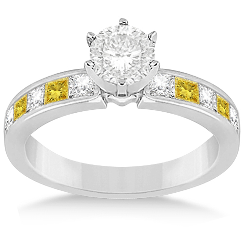 Princess Cut White & Yellow Diamond Bridal Set 14K White Gold (1.10ct)