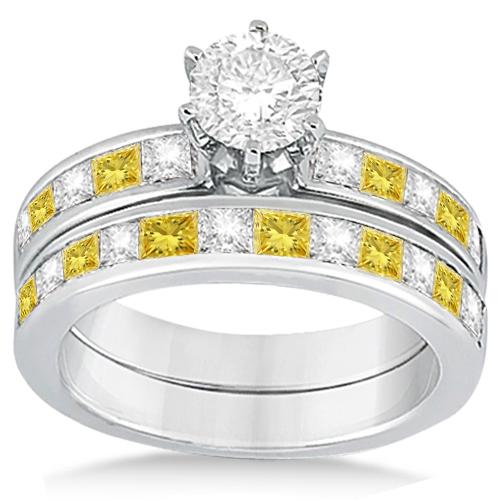 Princess Cut White & Yellow Diamond Bridal Set 18K White Gold (1.10ct)