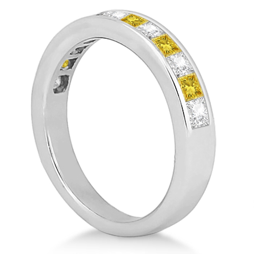 Princess Cut White & Yellow Diamond Wedding Band 14k White Gold 0.60ct