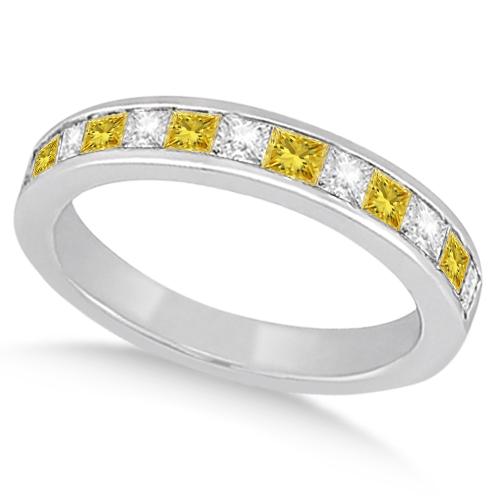 Princess Cut White & Yellow Diamond Wedding Band 18K White Gold 0.60ct