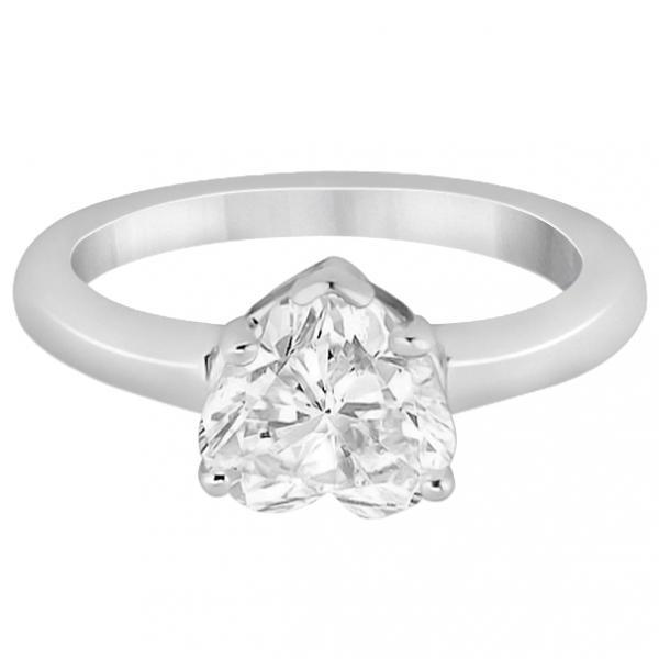 Heart Shaped Solitaire Diamond Engagement Ring Setting 14k White Gold