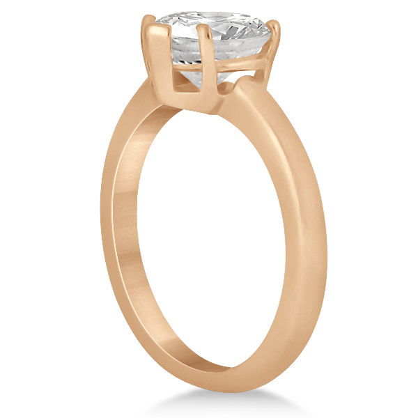 Heart Shaped Solitaire Diamond Engagement Ring Setting in 18k Rose Gold