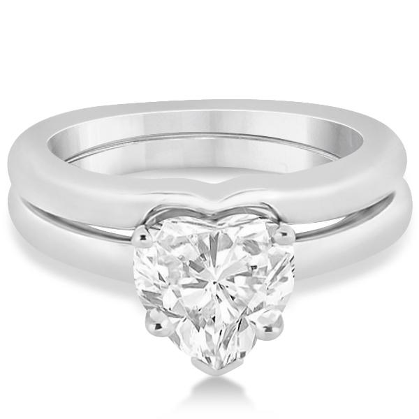 Shaped engagement ring wedding band bridal set 14k white gold heart shaped engagement ring wedding band bridal set 14k white gold junglespirit Gallery