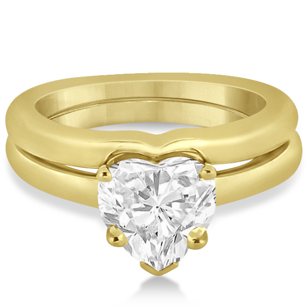 Heart Shaped Engagement Ring & Wedding Band Bridal Set 14k Yellow Gold