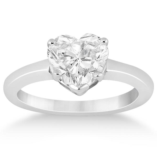 Heart Shaped Engagement Ring & Wedding Band Bridal Set Palladium