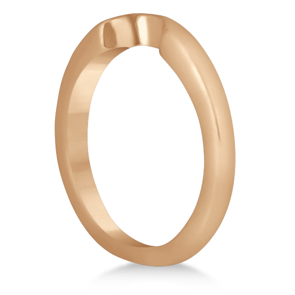 Matching Notched Wedding Band to Heart Shaped Ring in 14k Rose Gold
