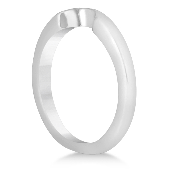 Matching Notched Wedding Band to Heart Shaped Ring in 18k White Gold