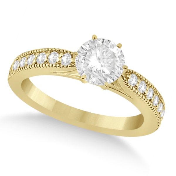 Cathedral Antique Style Engagement Ring 18k Yellow Gold (0.28ct)