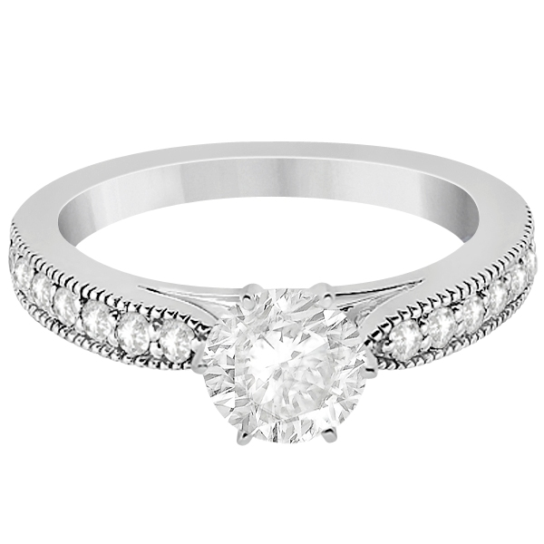 Cathedral Antique Style Engagement Ring in Platinum (0.28ct)