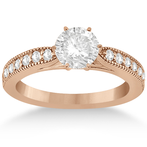 Cathedral Diamond Accented Vintage Bridal Set in 18k Rose Gold (0.62ct)