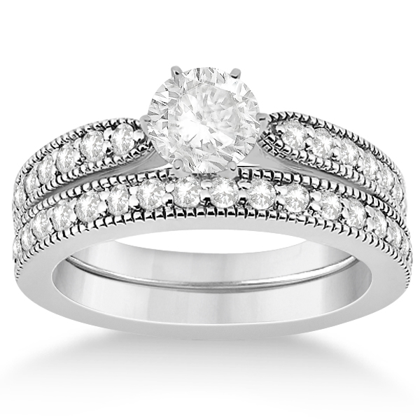 Cathedral Diamond Accented Vintage Bridal Set in 18k W. Gold (0.62ct)