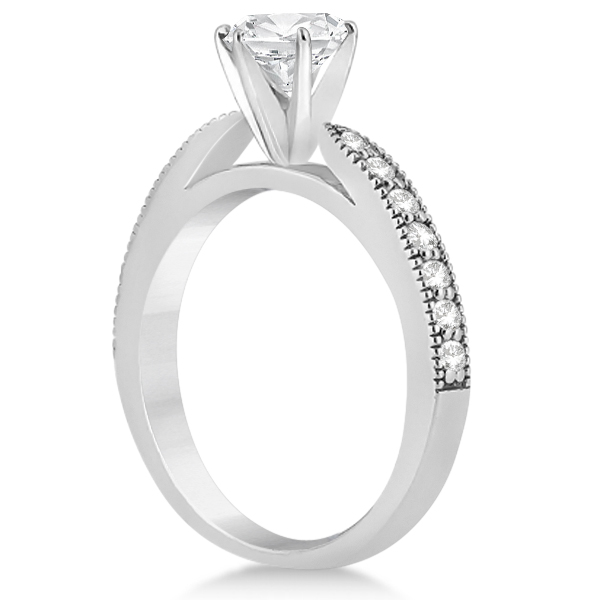 Cathedral Diamond Accented Vintage Bridal Set in Platinum (0.62ct)