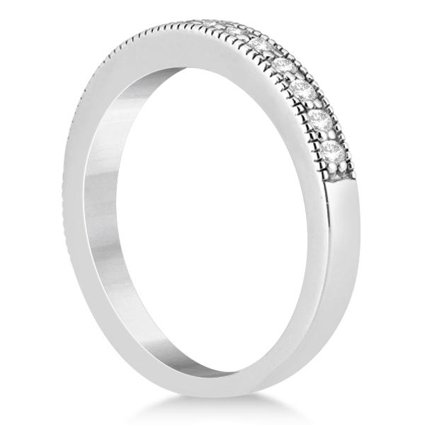 Pave Set Diamond Wedding Band Milgrain Edged 14k White Gold (0.34ct)