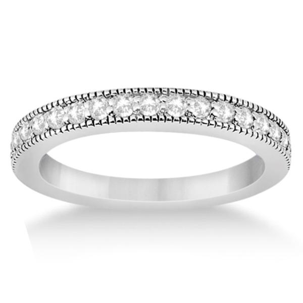 Pave Set Diamond Wedding Band Milgrain Edged in 18k White Gold (0.34ct)
