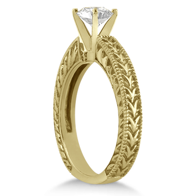 Antique Engraved Solitaire Engagement Ring Setting 18k Yellow Gold