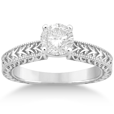 Solitaire Engagement Ring & Wedding Band Bridal Set 18k White Gold