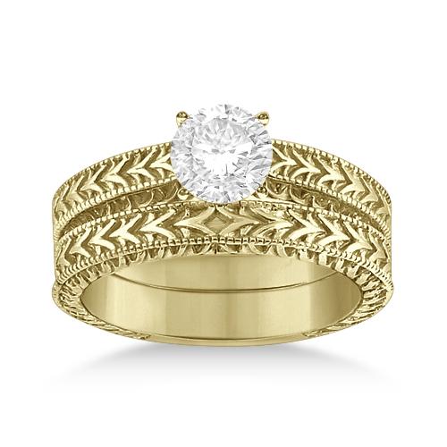 Solitaire Engagement Ring & Wedding Band Bridal Set 18k Yellow Gold