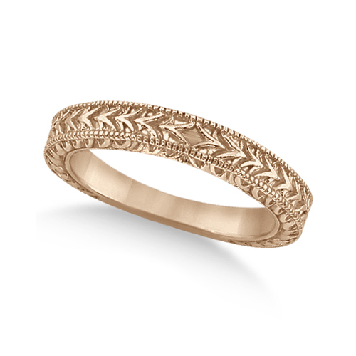 Antique Engraved Wedding Band w/ Filigree & Milgrain 14k Rose Gold