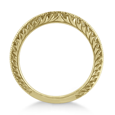 Antique Engraved Wedding Band w/ Filigree & Milgrain 14k Yellow Gold