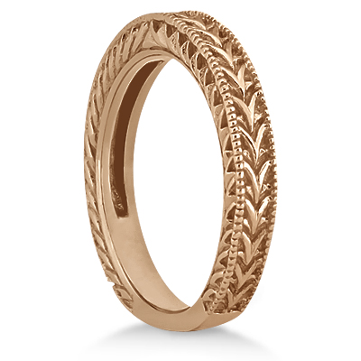 Antique Engraved Wedding Band w/ Filigree & Milgrain 18k Rose Gold
