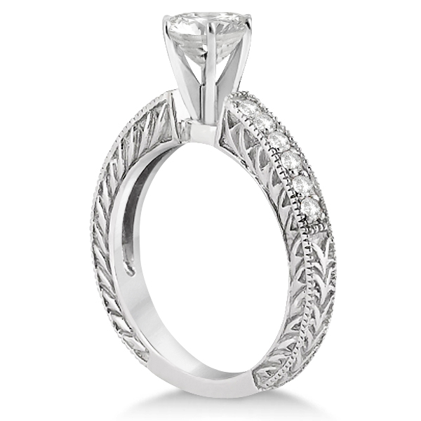 Vintage Style Diamond Filigree Engagement Ring 14k White Gold (0.16ct)