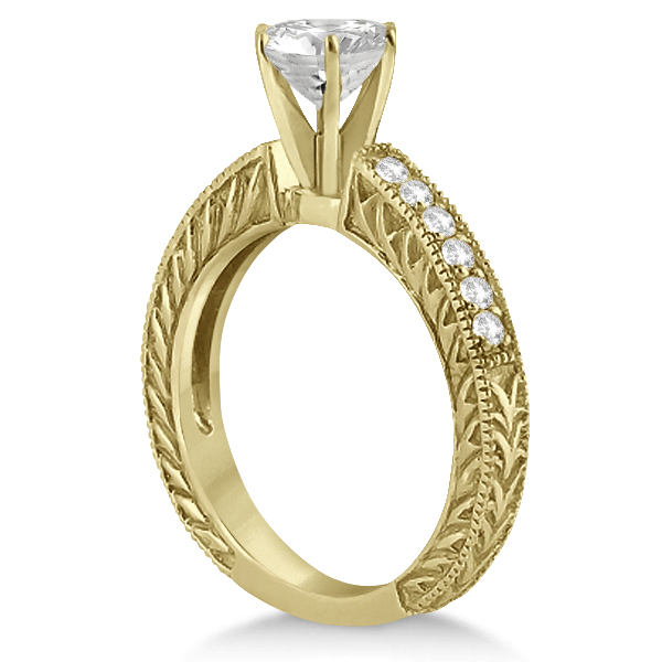 Vintage Style Diamond Filigree Engagement Ring 14k Yellow Gold (0.16ct)