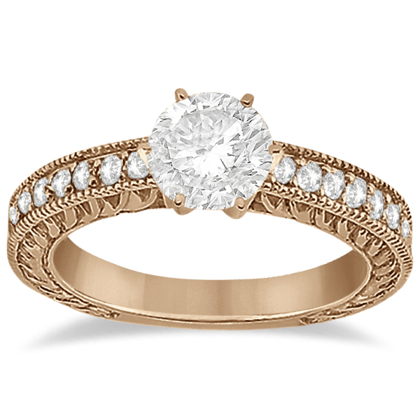 Vintage Style Diamond Filigree Engagement Ring 18k Rose Gold (0.16ct)