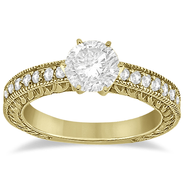 Vintage Style Diamond Filigree Engagement Ring 18k Yellow Gold (0.16ct)