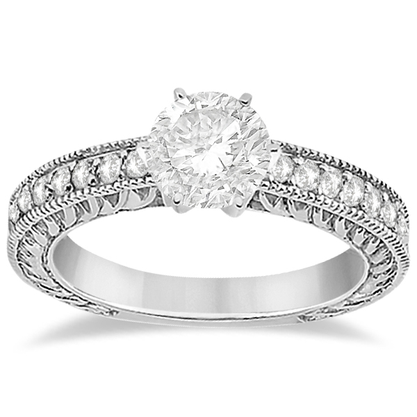 Vintage Style Diamond Filigree Engagement Ring Platinum (0.16ct)
