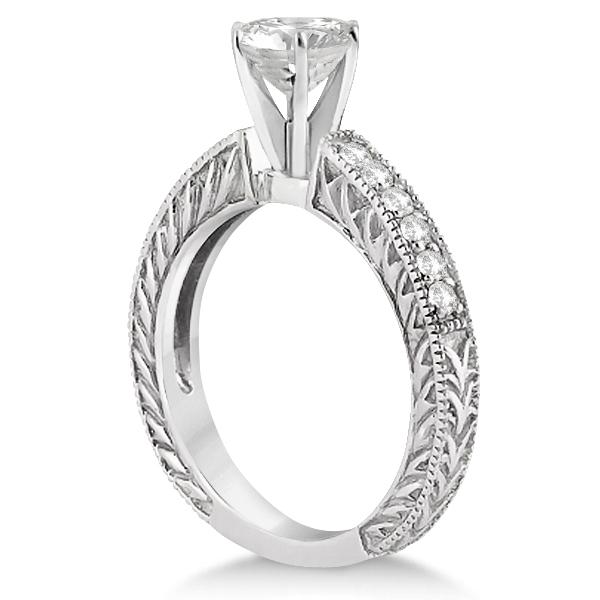 Vintage Style Diamond Filigree Engagement Ring Platinum (0.16ct)