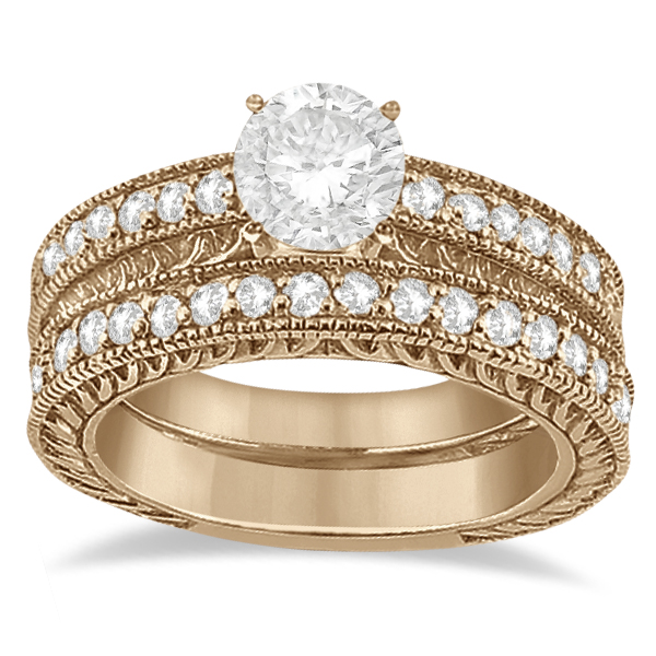 Vintage Filigree Diamond Engagement Bridal Set 18k Rose Gold (0.35ct)