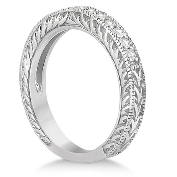 Vintage Filigree Diamond Engagement Bridal Set Palladium (0.35ct)