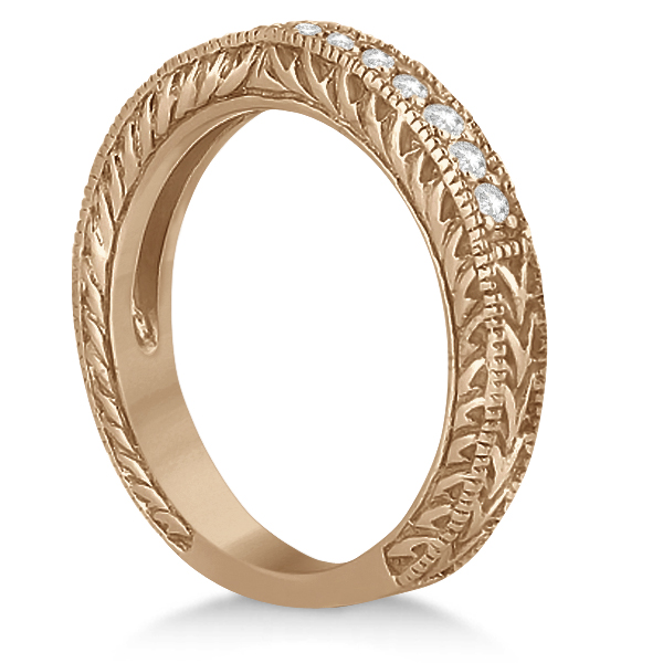 Vintage Style Filigree Diamond Wedding Band 14k Rose Gold (0.19ct)