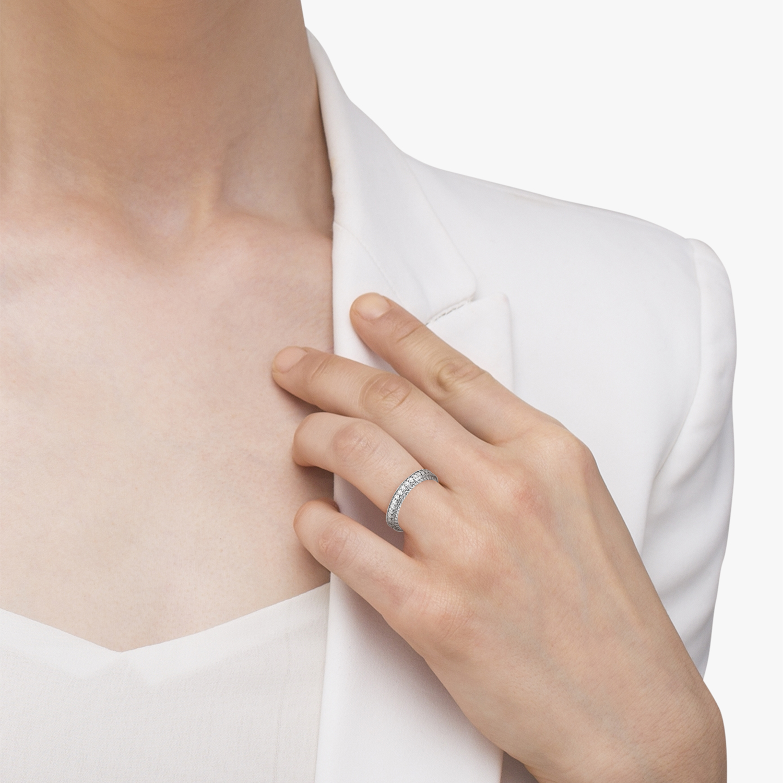 Vintage Style Filigree Diamond Wedding Band 14k White Gold (0.19ct)