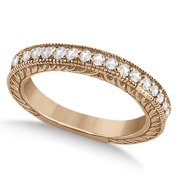 Vintage Style Filigree Diamond Wedding Band 18k Rose Gold (0.19ct)