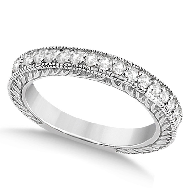 Vintage Style Filigree Diamond Wedding Band Palladium (0.19ct)